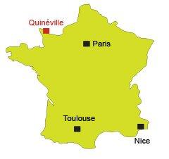 Localisation de Quinéville en Normandie (Cotentin)