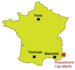 Location of Roquebrune Cap Martin in France