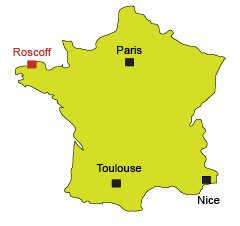 Map of Roscoff in Brittany