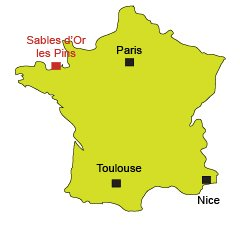 Location of Sables d'Or les Pins in France