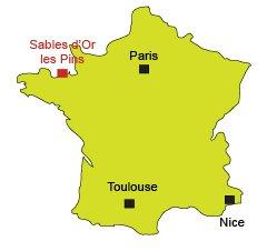 Localisation des Sables d'Or les Pins - Bretagne