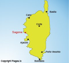 Location of Sagone in Corsica