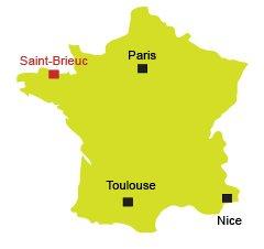 Localisation de Saint Brieuc en Bretagne