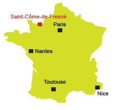 Map of Saint Come de Fresné in Normandy - France
