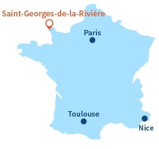Localisation de Saint-Georges-de-la-Rivière dans la Manche