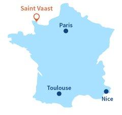 Location of Saint Vaast la Hougue in Normandy