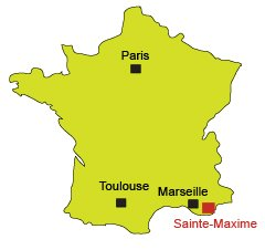 Location of Sainte-Maxime in south of France