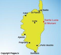 Localisation de Santa Lucia di Moriani - Corse