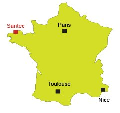 Map of Santec in Brittany