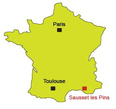 Location of Sausset les Pins in France