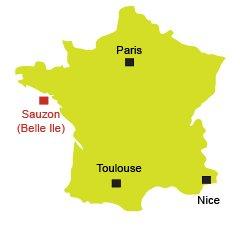 Location of Sauzon in France - Belle Ile en Mer