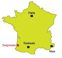 Map of Seignosse in France - Landes