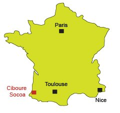 Location of Ciboure and Socoa in France