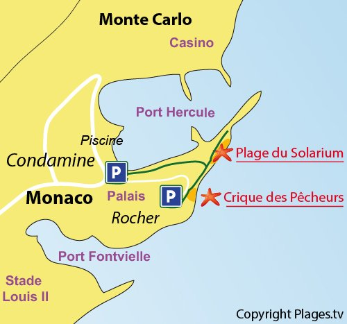 Map of the Solarium beach in Monaco