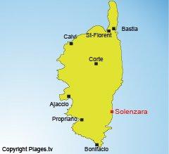 Location of Solenzara in Corsica