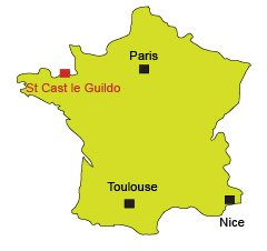 Location of St Cast le Guildo in Brittany