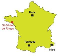 Localisation de St Gildas de Rhuys en Bretagne