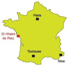 Localisation de St Hilaire de Riez en Vendée