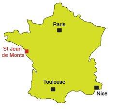 Location of St Jean de Monts in Vendée in France