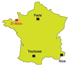 Map of St Malo in Brittany in France