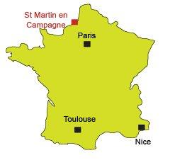 Localisation de St Martin en Campagne en Normandie