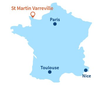 Localisation de St Martin Varreville en Normandie