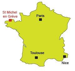 Carte de St Michel en Grève en Bretagne