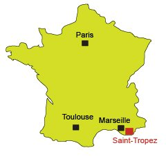 Location of St Tropez in France