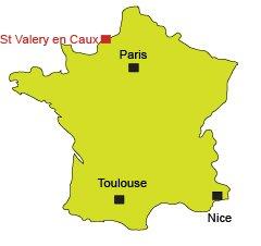Localisation de St Valéry en Caux - Normandie