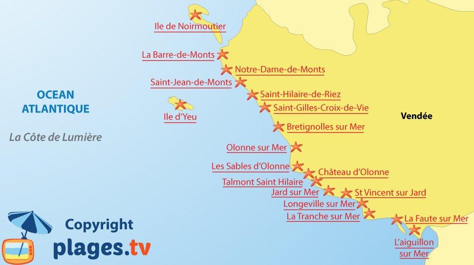 Carte des stations balnéaires et des plages de la côte de Lumière en Vendée