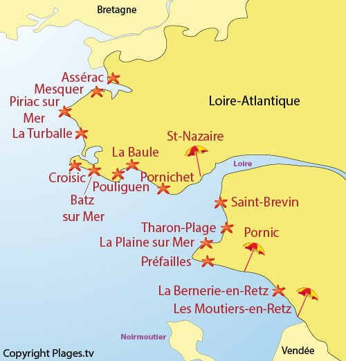 Map of seaside resorts and beaches in Loire Atlantique in France