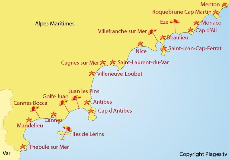Carte des stations balnéaires des Alpes Maritimes