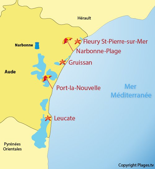 Map of resorts and beaches in Aude department in France