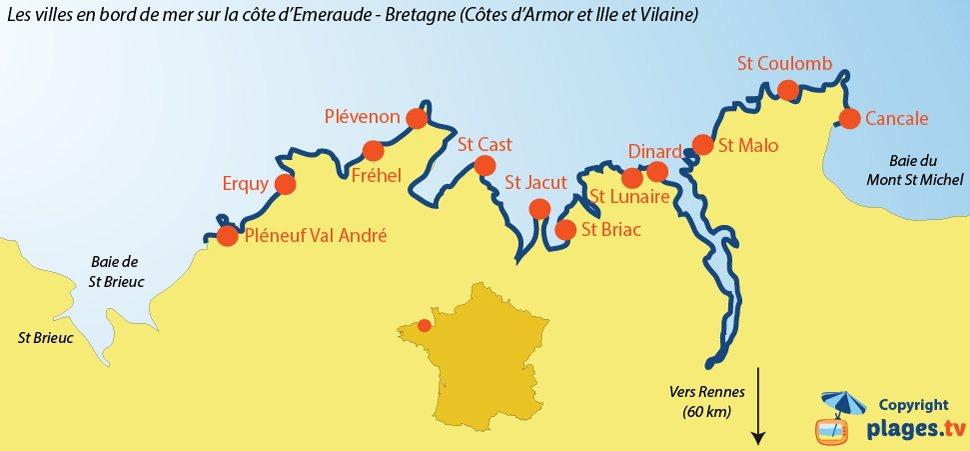 Carte des stations en bord de mer sur la Côte d'Emeraude - Bretagne