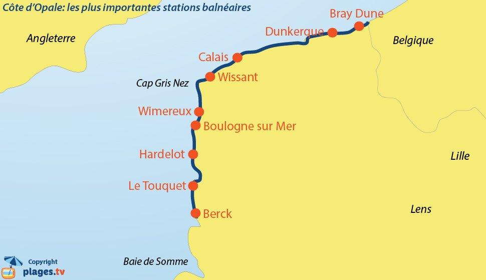 Carte des stations balnéaires de la Côte d'Opale