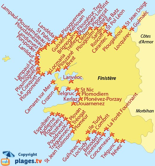 Map of seaside resort and beaches in Finistere - Brittany - France