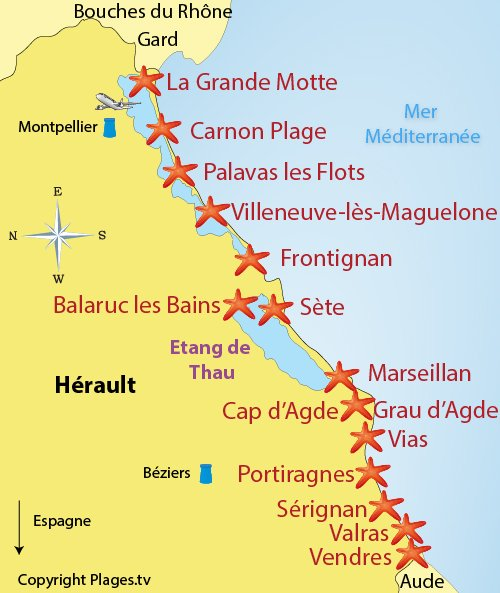 Map of the seaside resorts and beaches in Herault in France