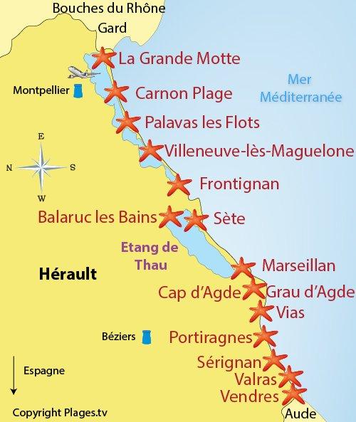Mappa spiagge e localita balneari nell'l'Hérault - Francia