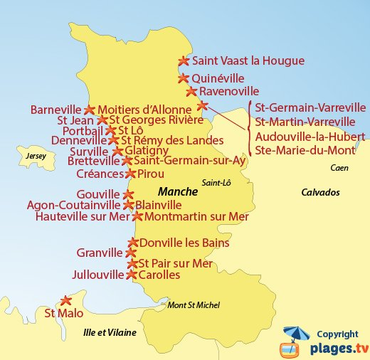 Map of beaches and seaside resorts in Manche in France - Normandy