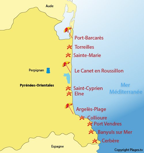Map of seaside resorts and beaches in Pyrénées Orientales in France