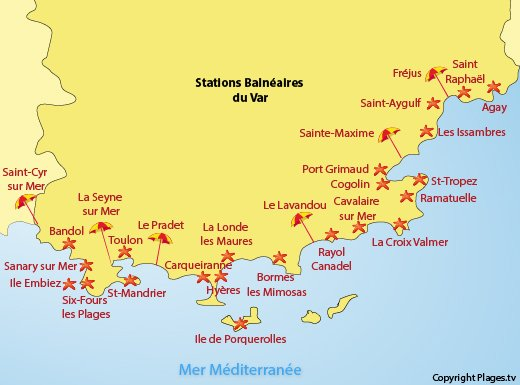 Map of the beaches in the Var department in France