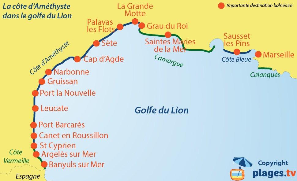 Carte du littoral du Golfe du Lion avec la Côte d'Améthyste