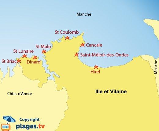 Carte des stations balnéaires et des plages de l'Ille et Vilaine en Bretagne