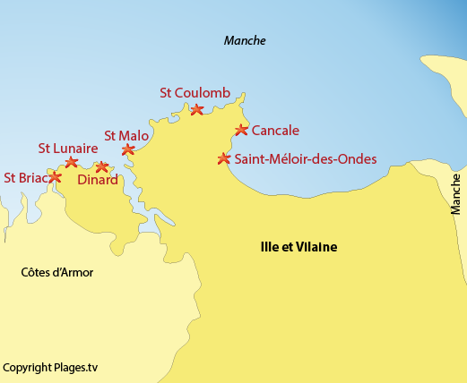 Map of the seaside resorts and beaches in Ille et Vilaine - Brittany