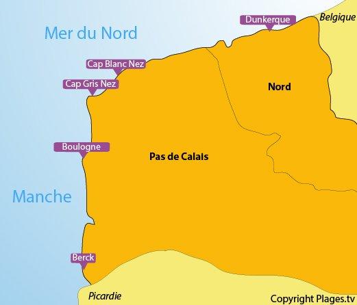 Carte des stations balnéaires et des plages du Nord Pas de Calais