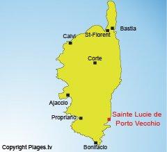 Localisation de Sainte Lucie de Porto Vecchio - Corse