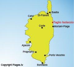 Localisation de Taglio Isolaccio en Corse