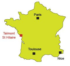 Map of Talmont St Hilaire in France