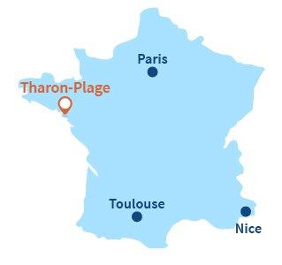 Localisation de Tharon-Plage en Loire Atlantique