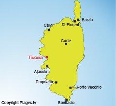 Carte de Tiuccia en Corse